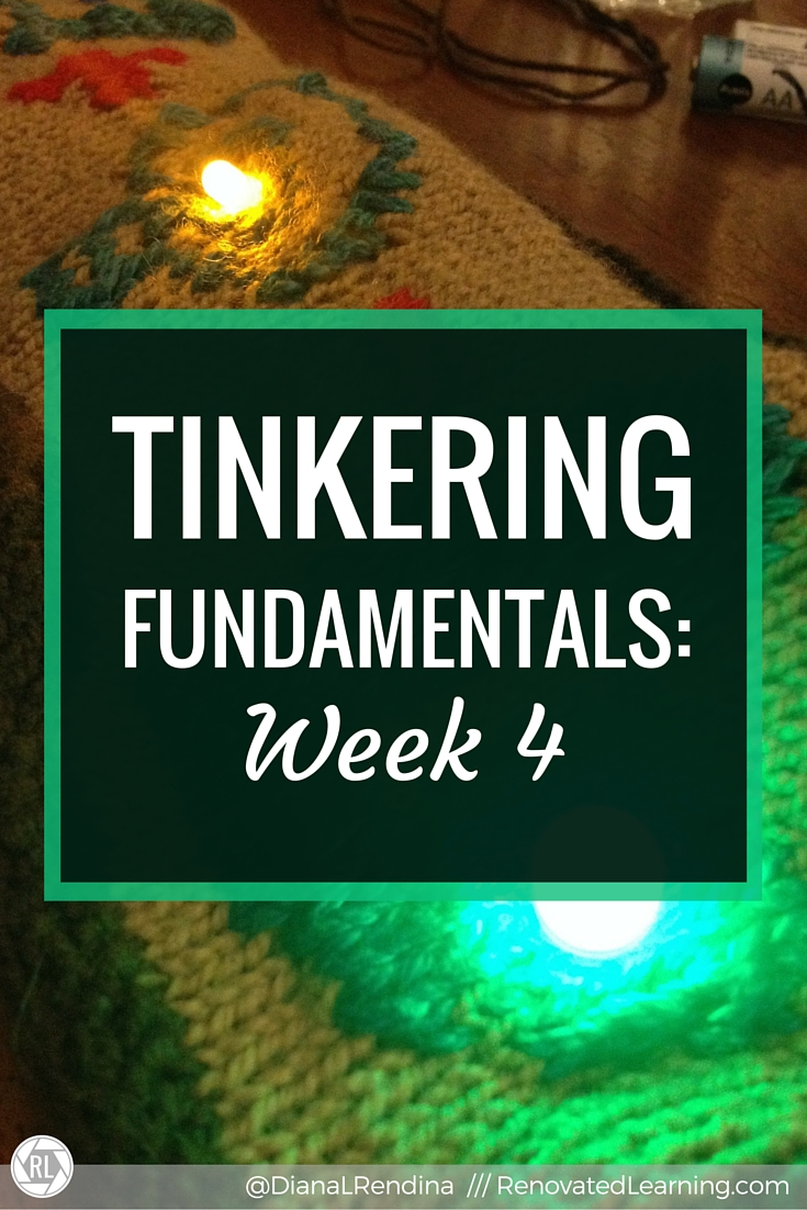 Tinkering Fundamentals: Week 4 | In this post, I share about my experiences in the Tinkering Fundamentals MOOC. I learn how to create paper circuits and sewn circuits. I also learn about tying national science standards to maker lessons.